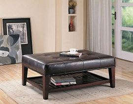 Brown Leatherette Ottoman