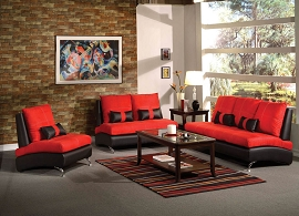 2 Piece Red Suede Sofa Set