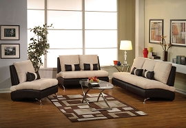 2 Piece Sand Suede Sofa Set
