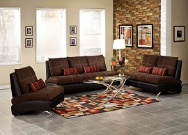2 Piece Brown Suede Sofa Set
