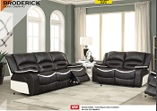 Recliner Sofa - Black with White Accents