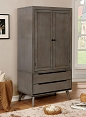 Contemporary Solid Wood  Armoire- color option