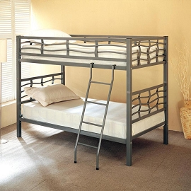 Twin/Twin Silver Metal Bunk Bed