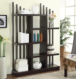 Contemporary Open Bookshelf with Staggered Shelves and Slats