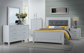 Queen Modern White Malibu Bed Frame
