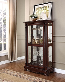 Cherry Finish Curio Cabinet with 4 side doors