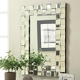 Contemporary Rectangular Wall Mirror in Silver Finish