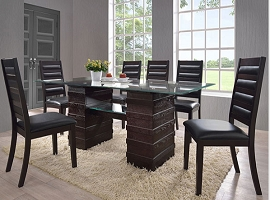 7 Pcs Cappuccino Wood Finish Dining Table Set