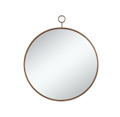 Circular Mirror with Simple Gold Frame