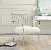 Contemporary Accent Chair with Faux Sheepskin