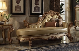 Gold Patina Finish Chaise