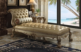 Golden Patina Finish Chaise