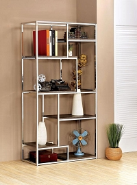 Contemporary Champagne or Chrome Book Shelf