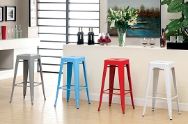Gray, Blue, Red, and White Durable Steel Stools