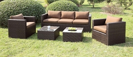 5 Pcs Brown Patio Sofa Set