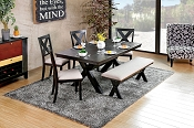 Black Finish Transitional Style Xanthe Dining Table Set