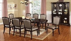 9 Piece Dark Walnut Contemporary Dinette Set