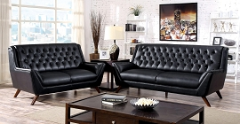 2 Pcs Black Button Tufted Sofa Set