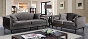 2 Pcs Dark Gray Karina Sofa Set