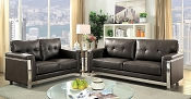 Nanette Black Sofa with Silver Trim