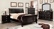 Transitional Style Espresso Finish Bed Frame