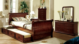 Louis Philippe Cherry Twin Bed with Trundle