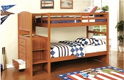 Oak Bunk Bed with Side Stairs