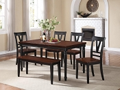 Wooden Dining Set with Bench- color option