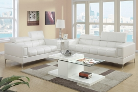 2 Piece Creame Leatherette Modern Sofa Set