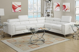 2 Piece Cream Leatherette Modern Selectional