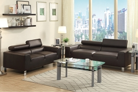 2 Piece Black Modern Sofa Set