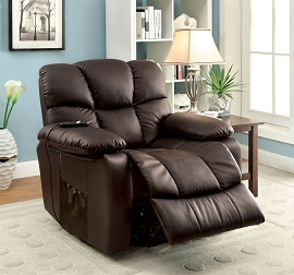 Stand Power Lift Black Leather Recliner