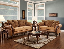 2 Pcs Traditional Sofa Set - Tan