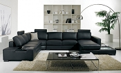 Modern Leather Sectional Sofa with Light