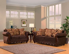 2 Piece Elegant Sofa Set with Wood