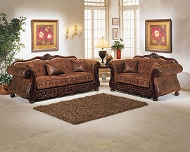 2 Piece Brown Elegant Sofa Set
