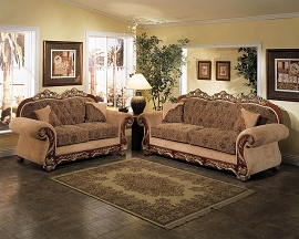 2 Piece Traditional Elegant Sofa Set - Tan Fabric