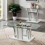 Staten Glossy White/black Chrome Coffee Table