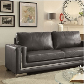 Perla Leather Grey or Black  Sofa