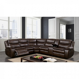 Pollux Sectional Dark Brown Leather