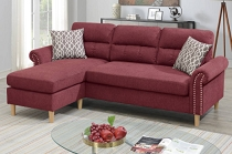 Red  Color 2-Pcs Sectional W/2 Accent Pillow