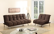 Chocolate Padded Suede Adjustable Sofa