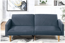 Navy Linen Adjustable Sofa