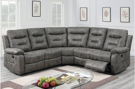 Black or Grey Leather Like Fabric Power Motion Sectional