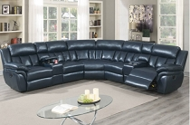 3 pcs  Navy Blue Leatherette Recliner sectional set with 2 consoles ( option Power or handle)