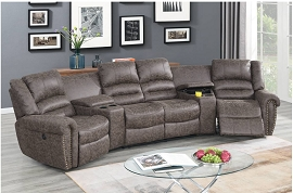 Taupe Color Power Theater Sectional