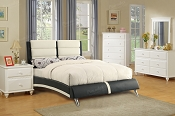 Black/White Faux Leather Bed Like a Sleek Sports Car