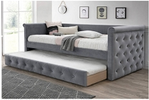 Light Grey Velvet Button tufted design Bed w/ Slats + Trundle