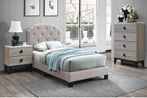 Light Brown Tufted Bed Frame