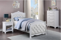 Twin White Faux Leather Bed